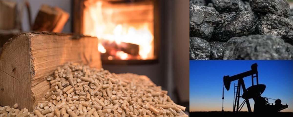 Biomasa frente a combustibles fosiles.